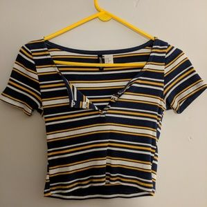 Blue white and yellow striped ripped crop top